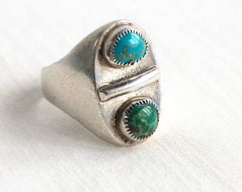 Turquoise Biker Ring Size 11 Vintage Sterling Silver Southwestern Double Stone Sawtooth Bezel Blue Green Stones