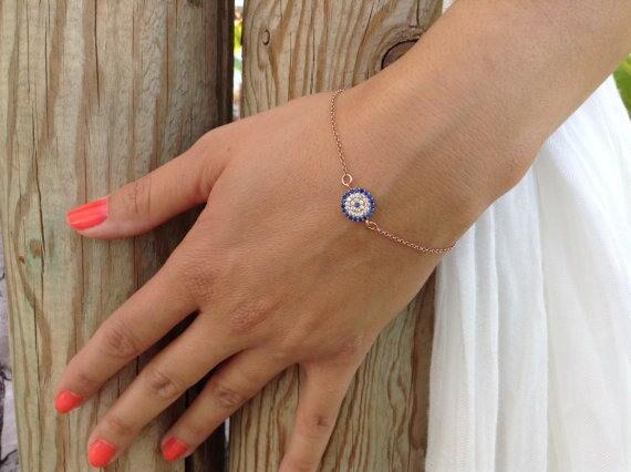 Evil eye bracelet, rose gold bracelet, Valentine's Day Gift,round circle of Life, blue zircon bracelet, bridal jewelry, bridmaid bracelet