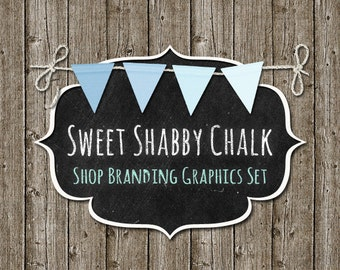 Bunting Wood Shop Branding Banners, Avatar Icons, Business Card, Logo Label + More - 12 Premade Graphics Files - SWEET SHABBY CHALK