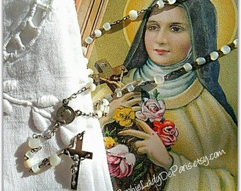 Mid-Century French Rosary Virgo Maria Mother of Pearl Sterling Silver Marks France Tag #sophieladydeparis