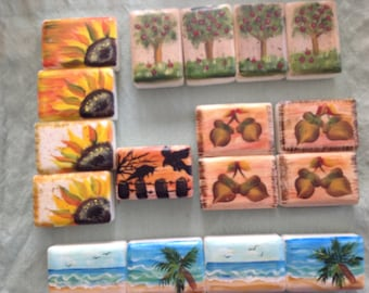 HAND PAINTED SOAPS Fall painted soaps acorns Sunflowers Halloween  and Apples soap Choose design painted soap bar soap hypoallergenic soaps