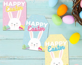 Printable Happy easter tags, bunny tags, easter printables, easter tags, happy easter, easter gift tags, instant download