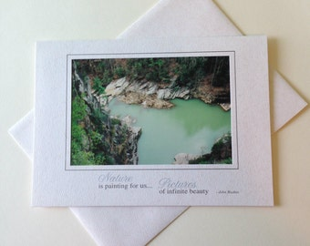 Aqua Tranquility Photo Note Card Blank Inside Inspirational Quote
