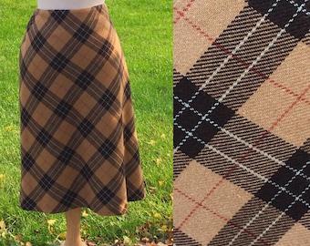 City Chic 90s Tan Plaid Skirt 30 Waist