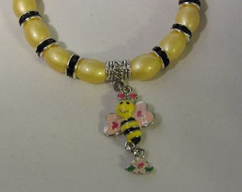 Black and Yellow Glass Bead Stretchy Bracelet with Bee Charm