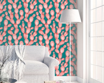 Watercolor Cactus Print Wallpaper - Removable Wallpapers - Floral Wallpaper - Self Adhesive Wall Decal - Temporary Peel and Stick Wall Art