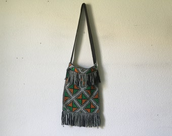 Vintage Bag - Multicolored Beaded Fringed Cloth