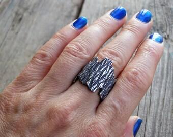 Silver Bark Ring, Tree wedding band, Boho wedding band, Rustic ring Bark, Textured Ring, silver rustic ring, silver boho ring