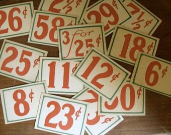 10 Vintage Antique General Store Price Cardboard Tags Lot