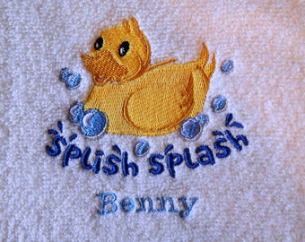 Splish Splash Rubber Ducky - Embroidered Towel (terry cloth or flour sack)