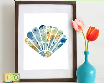Watercolor Sea Shell Print, Watercolor silhouettes, Sea Life, Beach theme, Nursery Print, Ocean print, Under the Sea, Item  WC007A