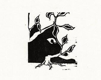 "Original Woodcut Cat Art Handmade Limited Edition Print ""02.27-Negative Space"""