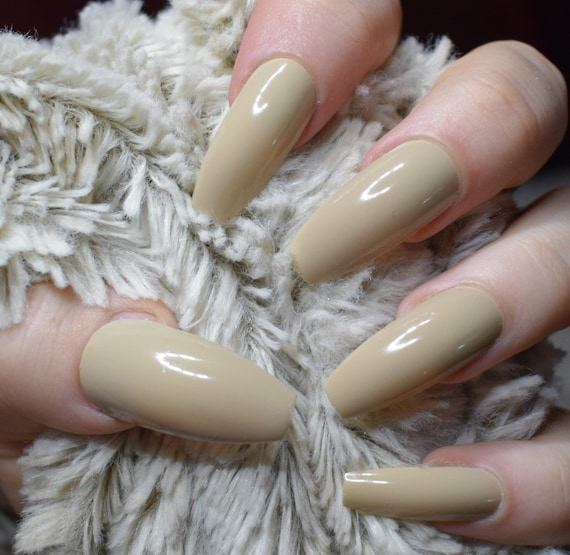 Light Beige Fake Nails, Long Coffin False Nails, Hand Painted Press ...