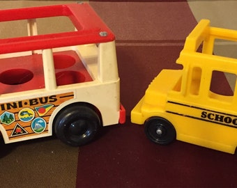 5 Different Vintage 1970's Fisher Price mini Buses