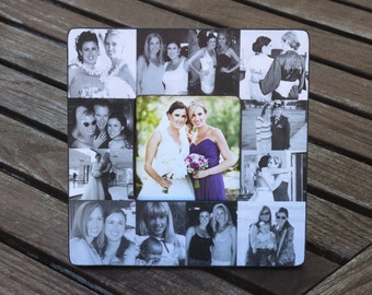 "Bridesmaid Collage Picture Frame, Personalized Sister Gift, Custom Maid of Honor Frame, Best Friend Collage Picture Frame, 8"" x 8"" Frame"