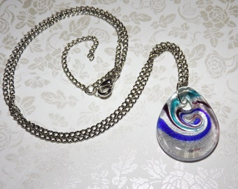 Cobalt Teal Swirl Glass Pendant Necklace