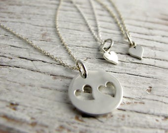 Mother Daughter Necklace, One or Two Heart Necklaces  & Heart Cutout Necklace, I carry your heart with me, Sterling Silver, Mother's Day