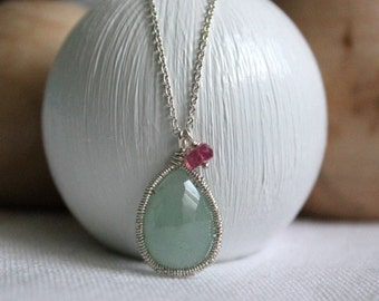 Aquamarine Pendant Necklace- Gemstone Necklace - Delicate Necklace -Layering Necklace- Birthstone Jewelry- Mothers Day Gift
