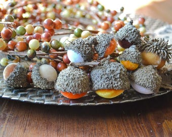 Silk Velvet Acorns in Candy Corn Colors, Set of 10, Thanksgiving, Fall Decor, Table Centerpiece, Real Acorn Caps