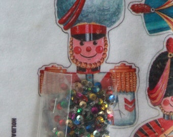 Vintage Felt Appliques, 1960-70s New Old Stock, Original Packaging, Toy Soldiers, Christmas Stocking Decorations, Felt Toy Soldier Appliques