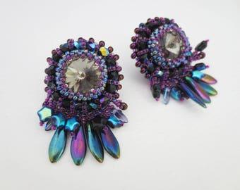 statement earrings- clip on earrings - crystal earrings - unique gift for her - beaded jewelry