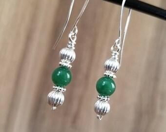 Silver & Green Drop Earring