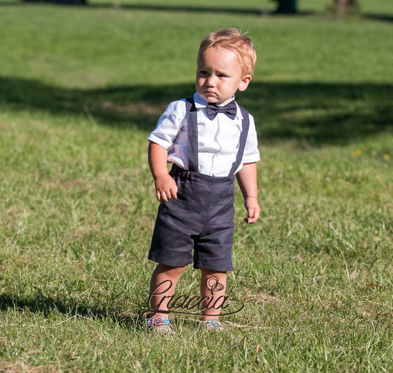 Baby boy suspenders suit Ring bearer outfit Baby boy linen