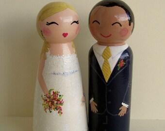 Hand Painted Love Boxes Custom Wedding Anniversary Cake Topper Peg Dolls Wood