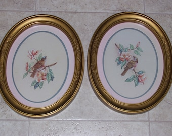Set of Two Home Interior Framed Pictures-Birds on Branches