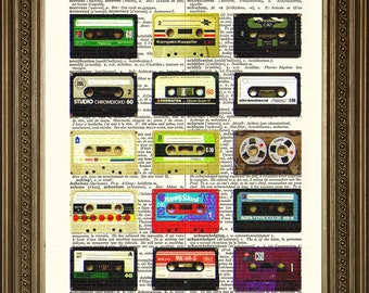 """CASSETTE TAPES PRINT: Vintage Music Dictionary Page Art (8 x 10"""")"""