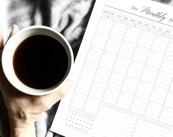Printable Monthly Planner, Blank Calendar, Printable Happy Planner PDF, Digital Inserts, Letter Size, Script Font