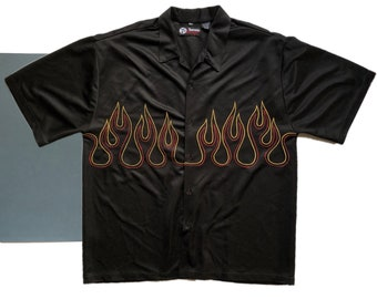 Vintage Flame Short-Sleeve Button Up