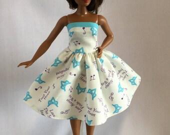 Handmade Curvy Barbie Clothes Trimmed Strapless Full Skirt Dress Designs by P D Reneau (G901)