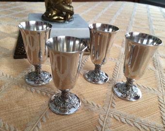 Sterling Silver Liqueur Goblets shot floral repouse  cordials Set of 4