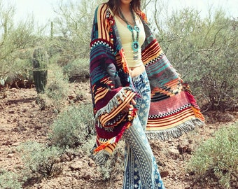 Vintage Handmade Southwestern Blanket Sweater with Bead and Concho Detailing