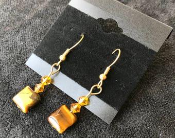 Brown Square Dangle Earrings
