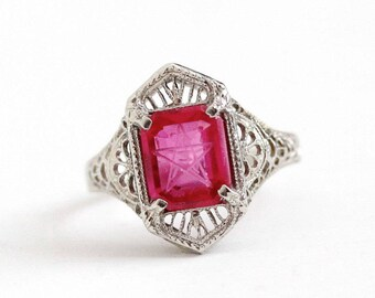 Sale - Vintage Masonic Ring - 10k White Gold Art Deco Created Ruby Order of the Eastern Star - Size 5 1/4 OES Pink Red Stone Fine Jewelry