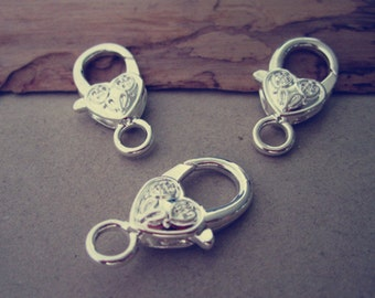 10pcs silver color Love Heart Lobster Clasps 12mmx26mm