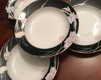 Mikasa Charisma Black Rim Soup Bowls (set of 4) Fine China Black Rim W/Flowers Gold Trim