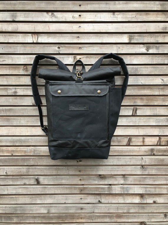 Waxed Canvas Rucksack Waterproof Backpack With Roll Up Top