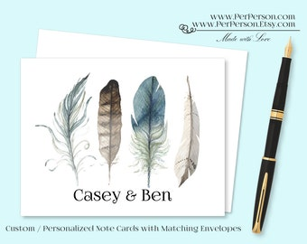 Free Ship!  Set of 12 Personalized / Custom Notecards, Boxed, Blank Inside, Feathers, Initials, Monogram, Name