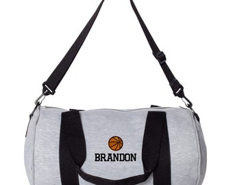 Basketball Monogrammed Gym Bag. Personalized Duffel Bag. Embroidered Gym Duffle Bag. Monogram Gym Duffle Bag. Personalized Gym Bag. SS-3395