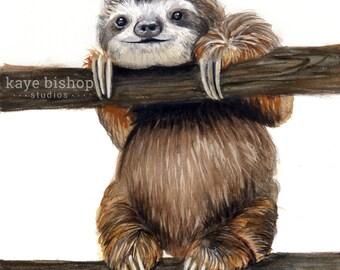 Sloth Watercolor Painting, Animal Art, Sloth Painting, Sloth Watercolor, Sloth Art, Nursery Art, Baby Sloth Art, Sloth Decor, Sloth Print