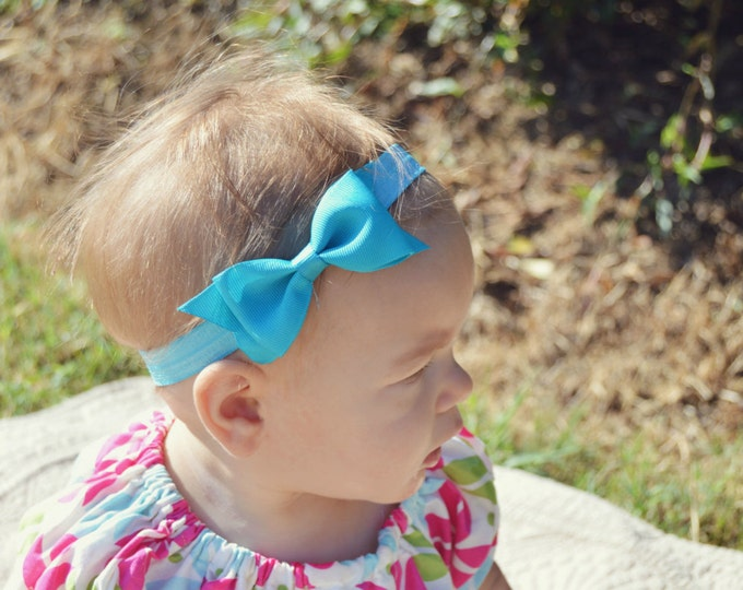 "Turquoise Tuxedo Bow Headband  ~ 3.5"" Hairbow ~ Small Hair Bow ~ Girls Headband ~ Toddler Bow ~ Baby Hair Bow ~ Hair Clip ~ Girls Hair Bow"