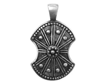 Warriors and Legends Valor Shield 1.75 inch (44 mm)) Pewter Metal Pendant