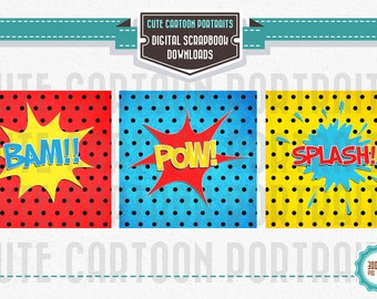 Instant Download - Super Hero Speach Action Bubbles - Cute Digital Clip Art Collage Sheet