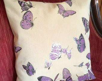 final few Silver Lavender Butterflies Pillow - Decorative Pillow Case - Screenprint Pillow cover - Pearl