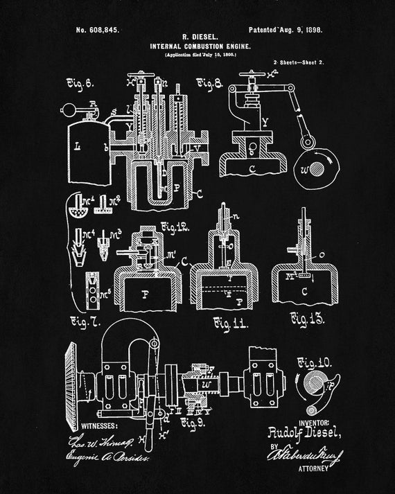 Diesel engine poster automobile art design diesel engine print diesel engine poster automobile art design diesel engine print diesel engine blueprint vintage automobile decor malvernweather Images