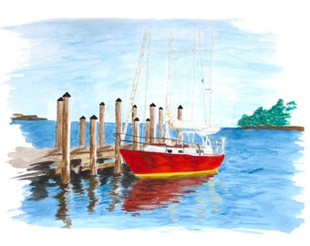 Red Boat at Annapolis Harbor