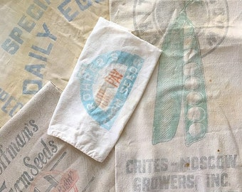 Down on the Farm... Vintage Farm Feedbags Advertising Feed Bags Seedbags Seeds Egg Mash Rustic Feedsack Feed Sacks Farmhouse Decor